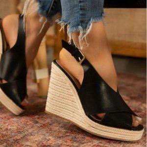 Shoes - Slingback Espadrille Wedges in Black